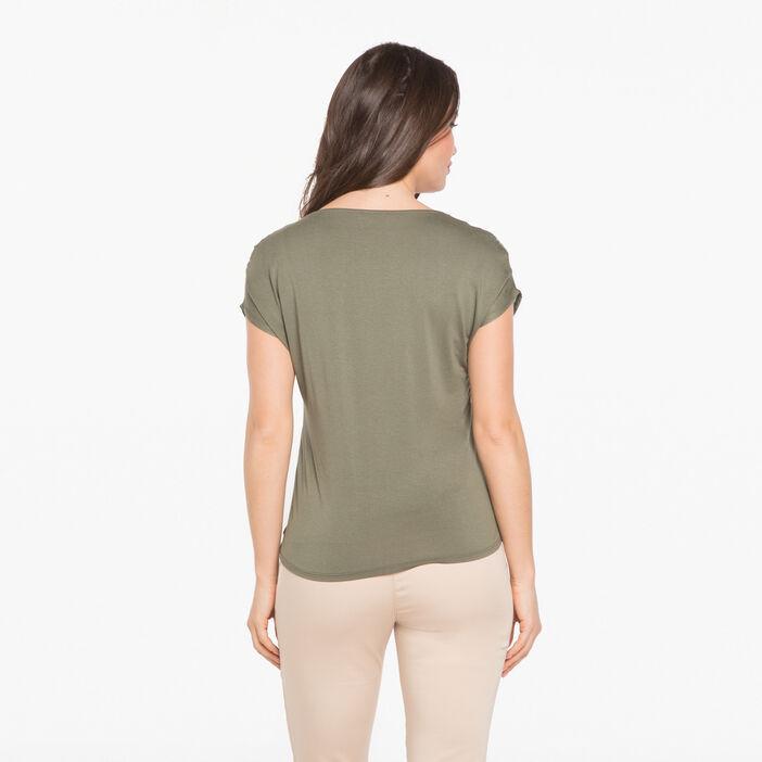 T-shirt ethnique avec détails brillants vert foncé femme