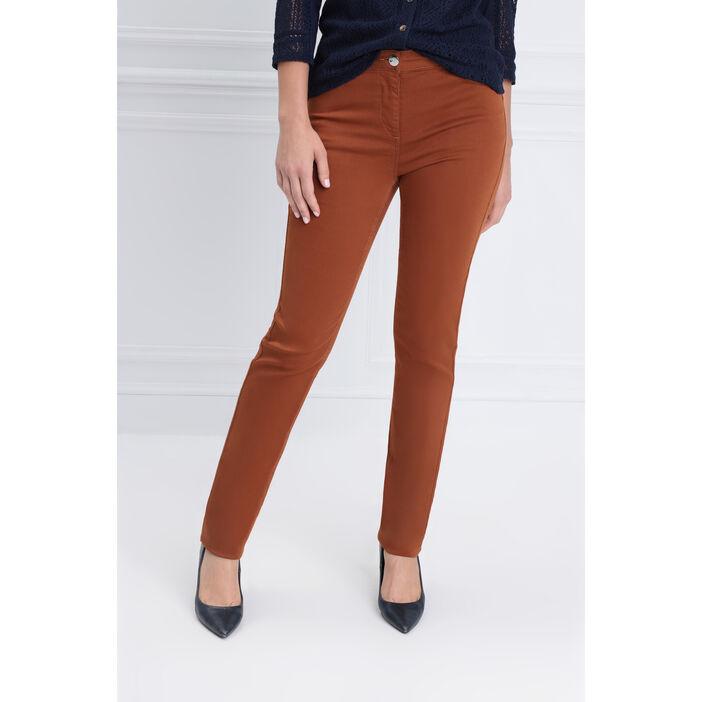 Pantalon taille standard zip poches marron femme