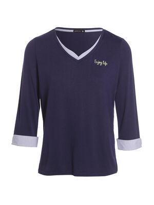 T shirt manches 34 enjoy life bleu fonce femme