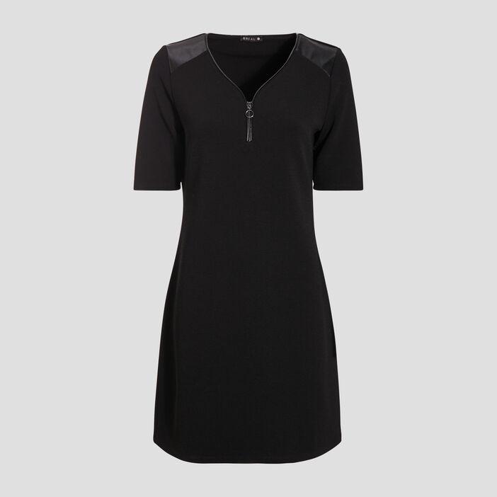 Robe droite à col zippé noir femme