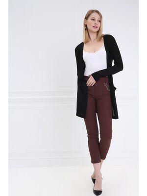 Pantalon taille basculee brode marron fonce femme