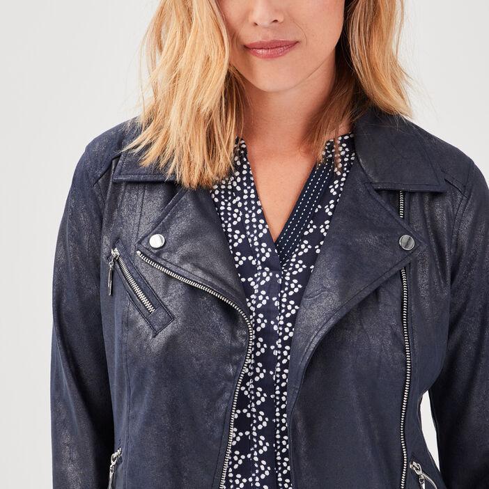 Veste droite zippée bleu foncé femme