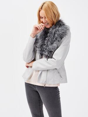 Veste cintree zippee gris fonce femme