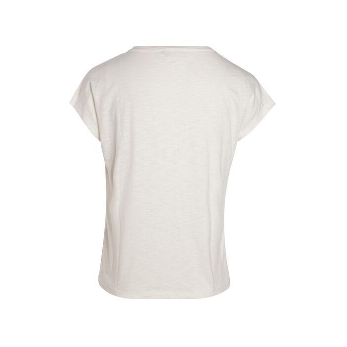 T-shirt manches courtes clous creme femme