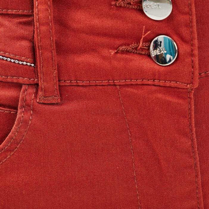 Pantalon droit taille standard rouge foncé femme