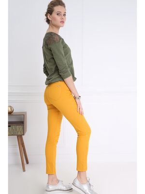 Pantalon leger toucher doux jaune or femme