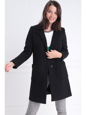 buying new factory outlet really comfortable Manteau long droit boutonné noir femme | Bréal