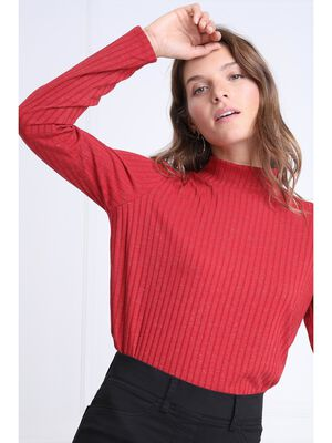 Pull manches longues cotele rouge femme