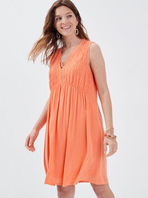 Robe evasee fluide orange corail femme