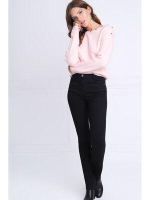 Pantalon ajuste detail zip noir femme