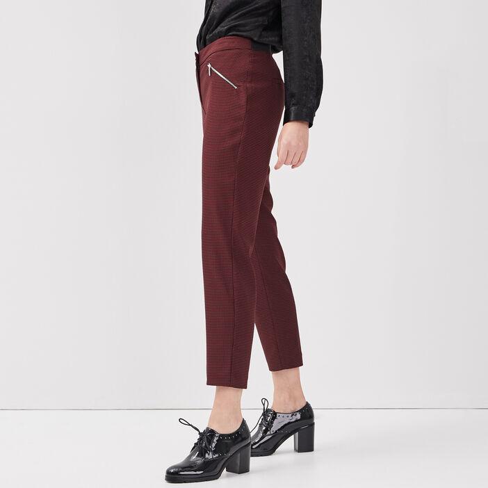 Pantalon droit taille standard bordeaux femme