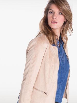Veste courte avec poches beige femme