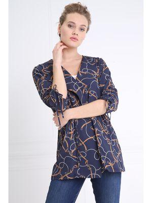 Sur chemise longue imprimee bleu marine femme