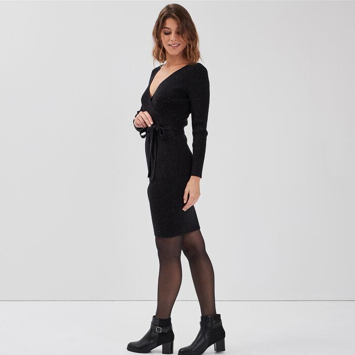Robe pull ajustée ceinturée noir femme