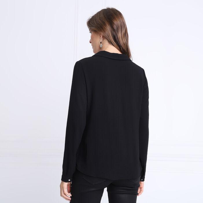 Blouse manches longues zippée noir femme
