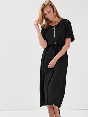 Robe longue evasee ceinturee noir femme
