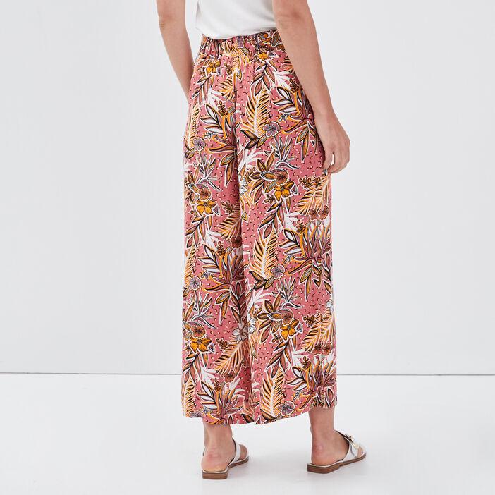 Pantalon flou large 7/8ème vieux rose femme