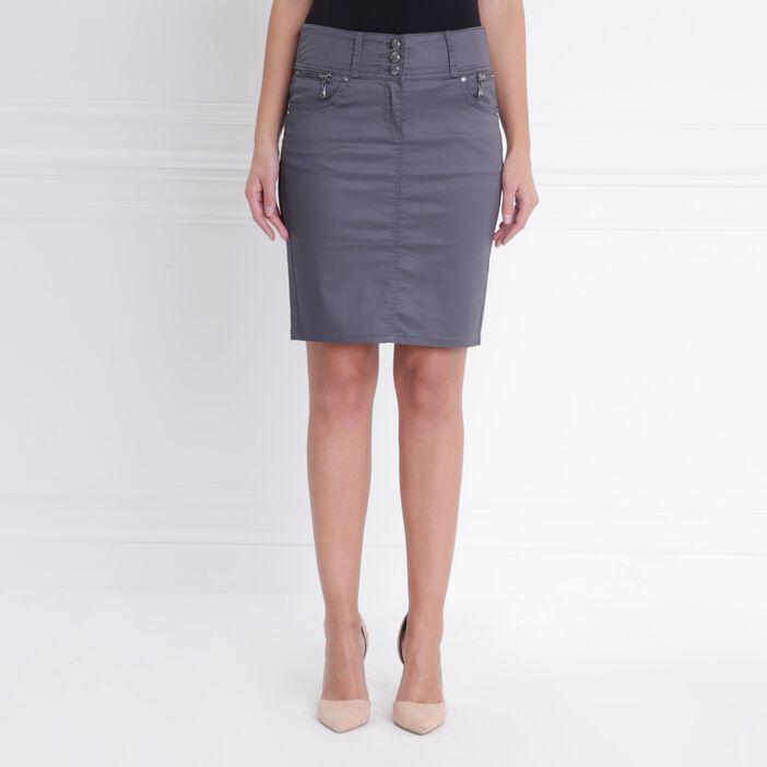Jupe enduite zippée gris foncé femme