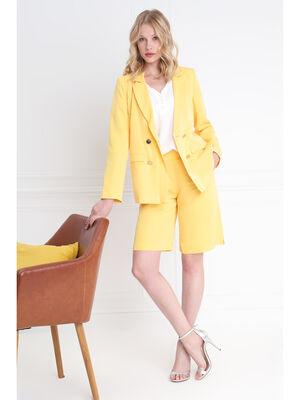 Bermuda fluide taille standard jaune femme