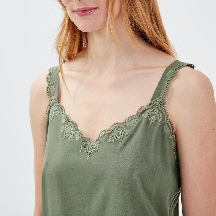 Débardeur bretelles larges vert kaki femme
