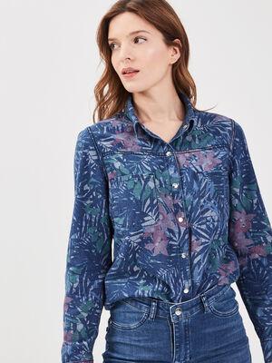 Chemise reversible en jean denim stone femme