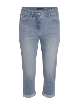 Pantacourt jean basique denim bleach femme
