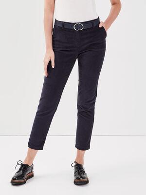Pantalon chino taille baculee bleu fonce femme