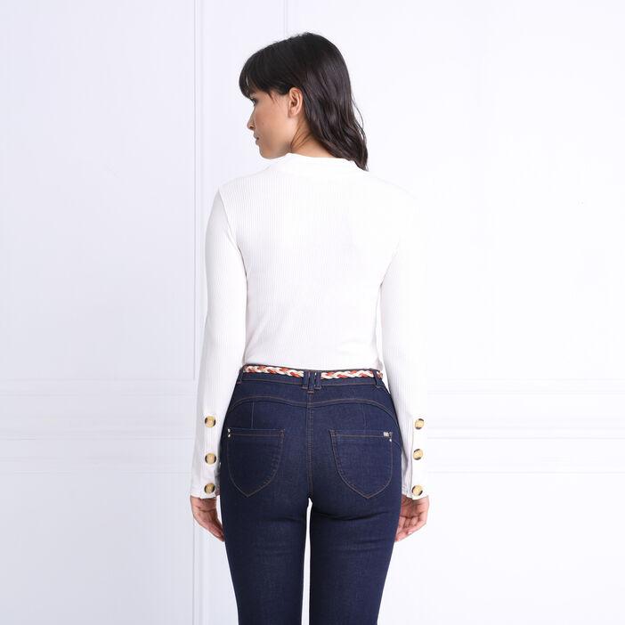 T-shirt manches longues côtelé creme femme