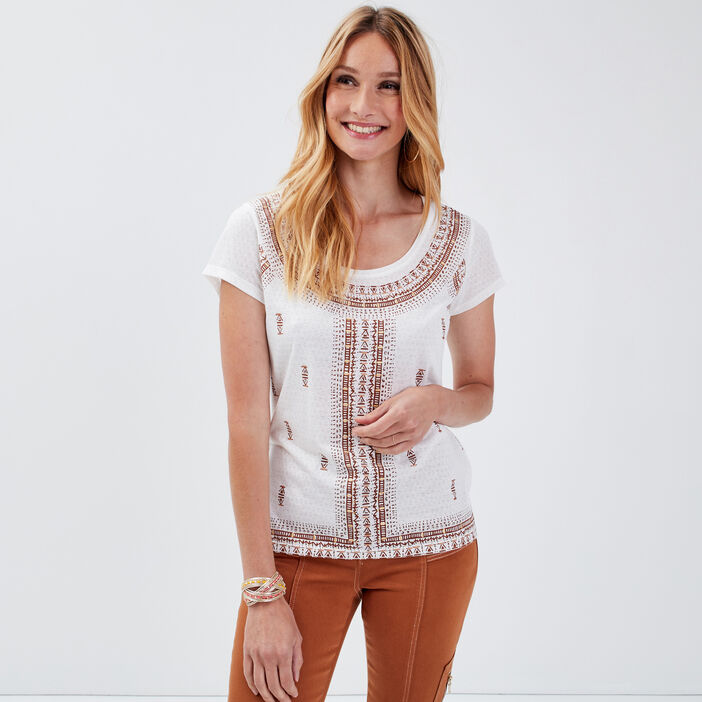 T-shirt manche courtes ecru femme