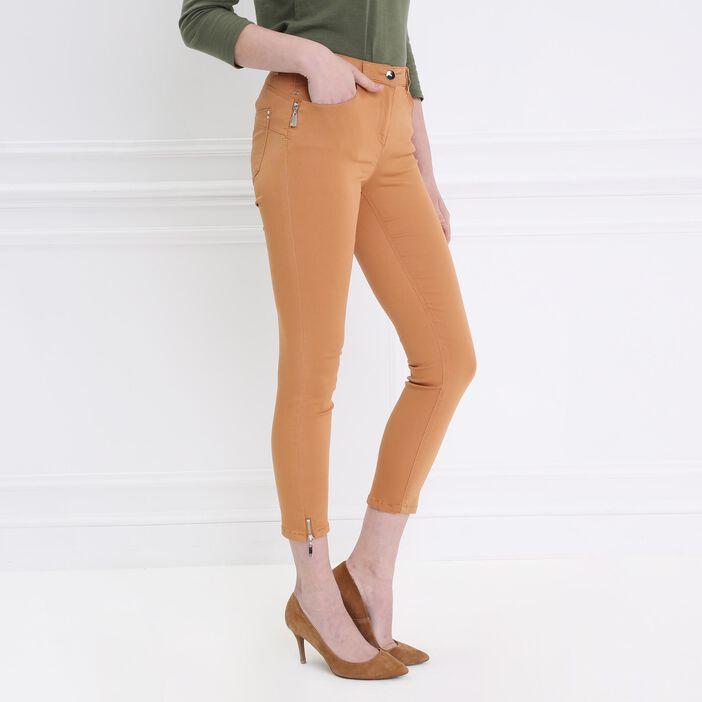Pantalon 7/8 satin camel femme