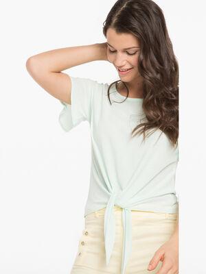 T shirt leger a nouer devant vert clair femme