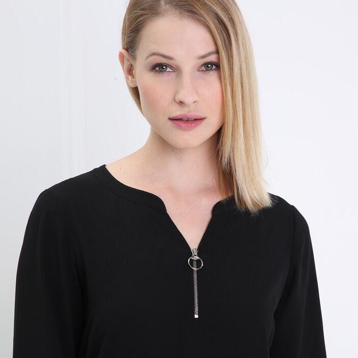 Robe taille basse col zippé blanc femme