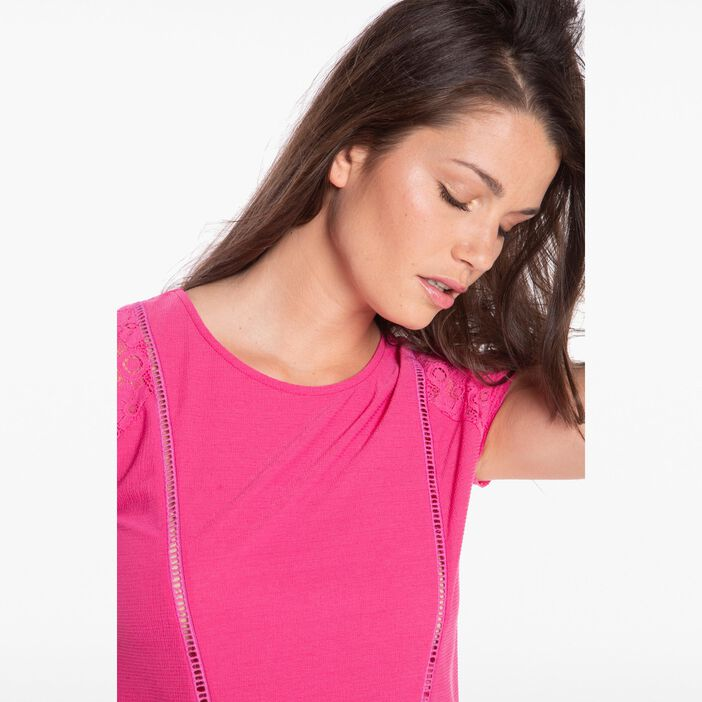 T-shirt col rond manches en dentelle rose fushia femme