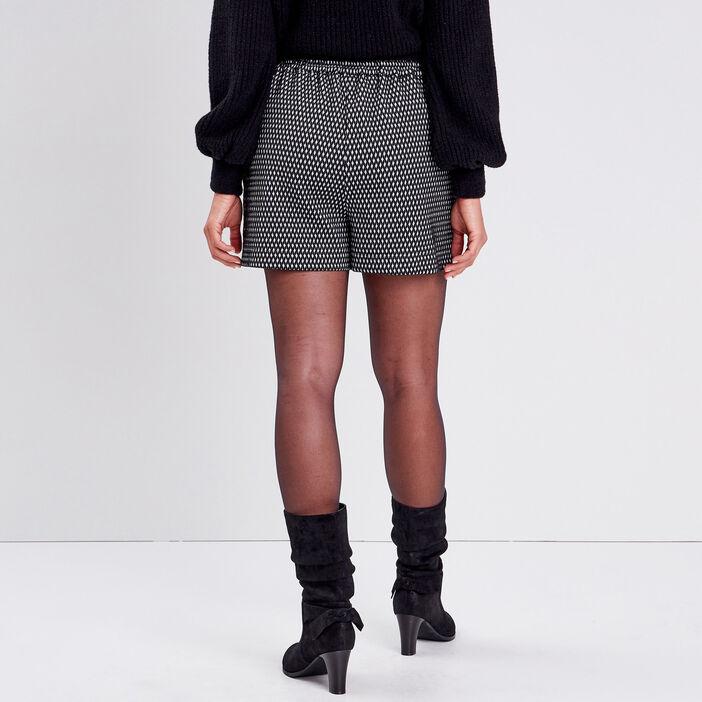 Short droit taille élastiquée noir femme