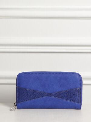 Pochette zippee effet reptile bleu femme