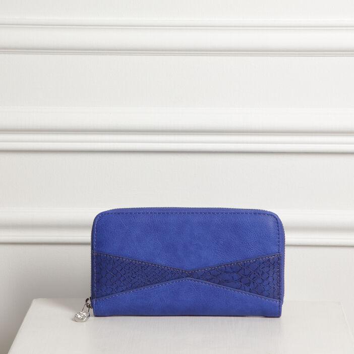 Pochette zippée effet reptile bleu femme