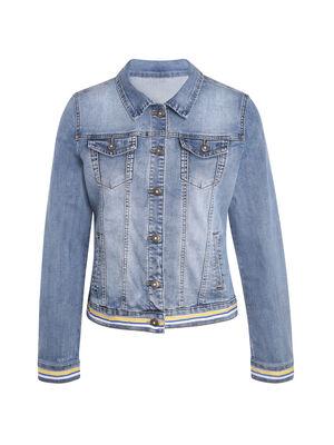 Veste en jean bande sporty denim double stone femme