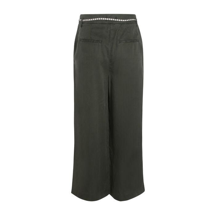 Pantalon fluide vert kaki femme