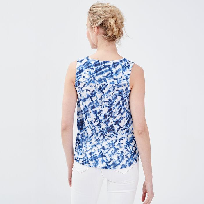 Débardeur col zippé bleu electrique femme