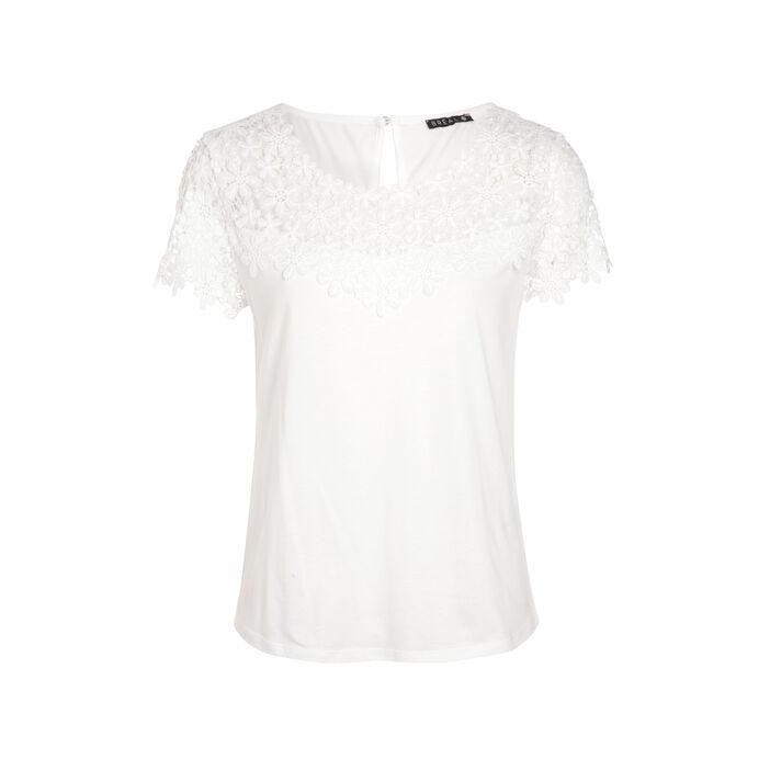 T-shirt col rond avec macramé ecru femme