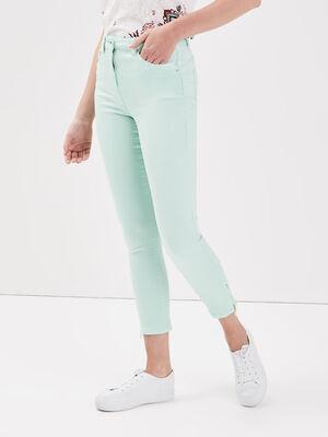 Pantalon ajuste taille haute vert clair femme