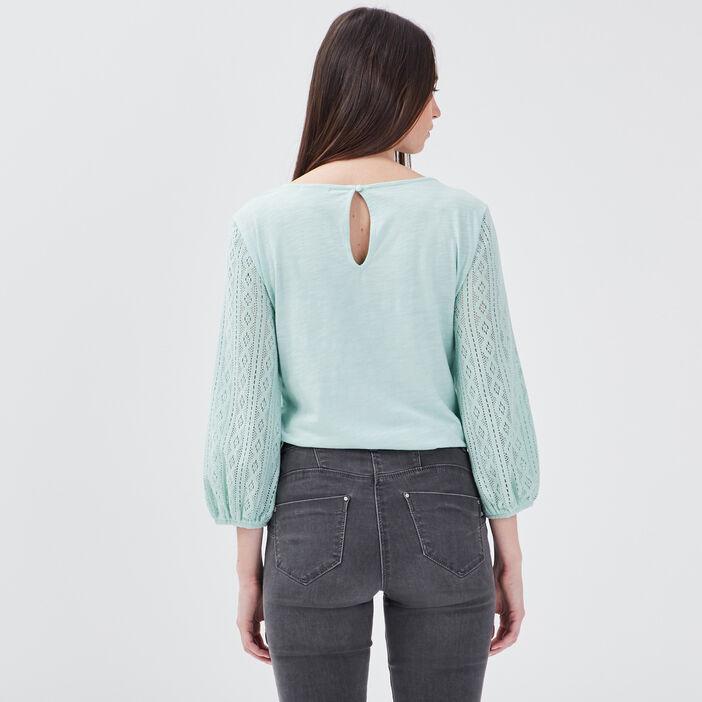 T-shirt manches 3/4 vert pastel femme