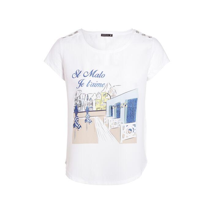 T-shirt manches 3/4 col rond blanc femme