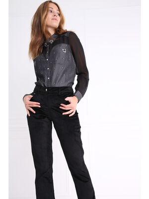 Pantalon taille standard ajuste velours noir femme