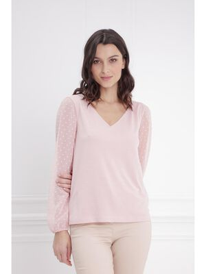 T shirt manches longues col V rose poudree femme