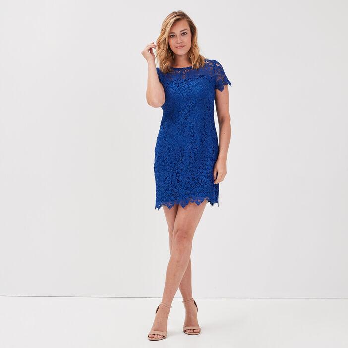 Robe droite en dentelle bleu electrique femme