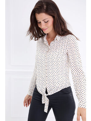 Chemise col francais motif graphique blanc femme