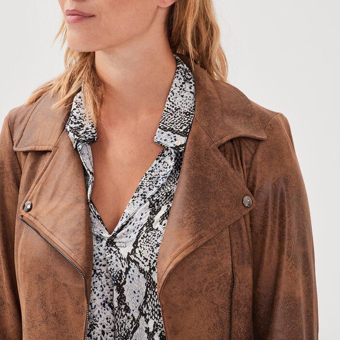 Veste esprit motard zippée marron foncé femme