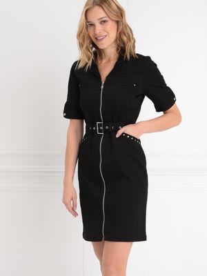 Robe ajustee zippee ceinturee noir femme