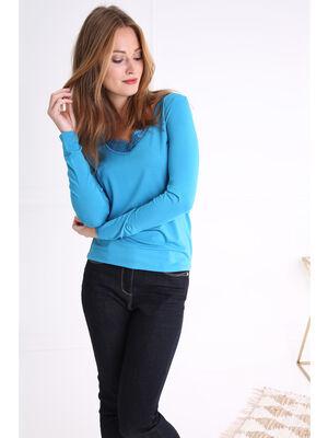 T shirt col en V et dentelle bleu femme